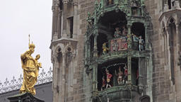 Munich / Germany - February 15 2018 : The historic Glockenspiel at Marienplatz Footage