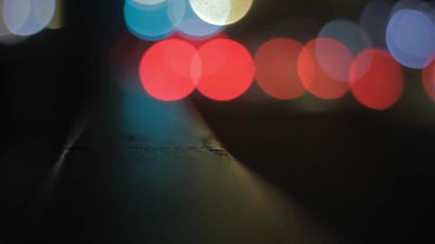 Car Lights and Railing Bokeh Footage