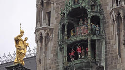 The historic Glockenspiel at Marienplatz, Munich, Germany - Part 06 Footage