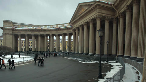 Sunday townspeople go to Kazan Cathedral Footage