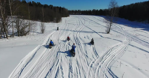 The group on snowmobiles Footage