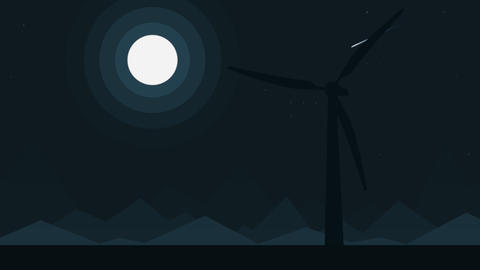 Cartoon silhouette of a wind generator at full moon night, loopable cartoon Footage
