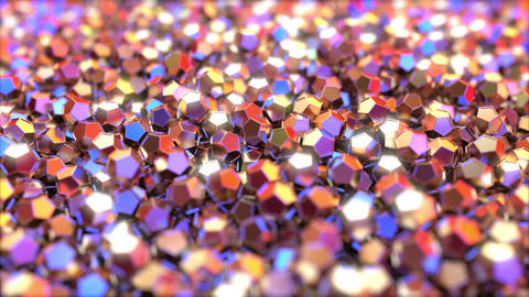 Pile of abstract regular dodecahedron metallic pieces reflecting red and blue Footage