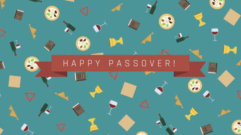 Passover holiday flat design animation background with traditional symbols and Animation