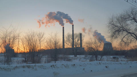 Smoke from factory chimneys Footage