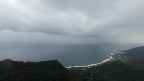 Aerial drone shot at the peak of Caoling Historic Trail, Taiwan Live Action