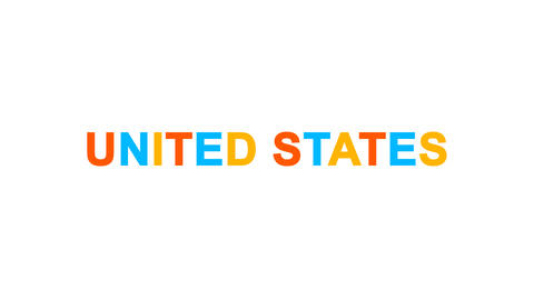 state UNITED STATES from letters of different colors appears behind small Animation