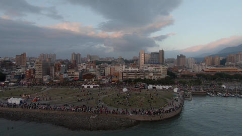 Aerial drone shot at Tamsui District at sunset moment, Taiwan Live Action