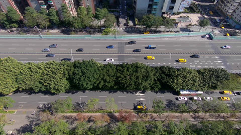 Aerial drone shot on a busy highway in Taipei city, Taiwan Live Action
