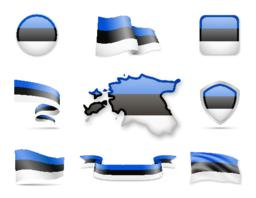 Estonia Flags Collection ベクター