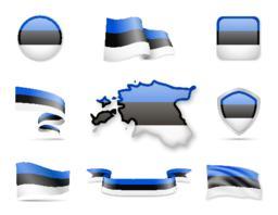 Estonia Flags Collection Vector