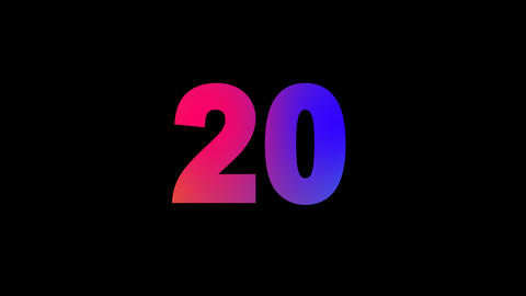 number twenty 20 multi-colored appear then disappear under the lightning strikes Animation