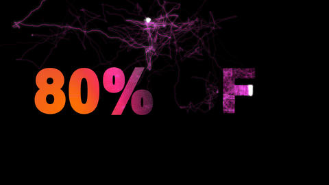 sale label 80% OFF multi-colored appear then disappear under the lightning Animation
