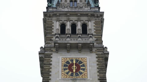 Hamburg City Hall Rathaus clock tower on a cloudy day Footage