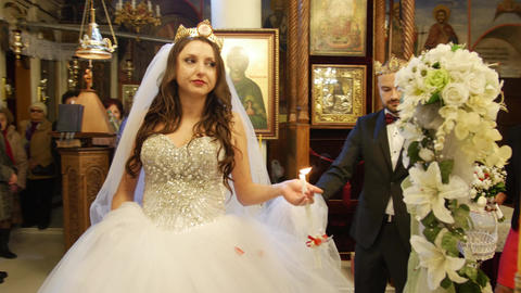 Wedding ritual in a church - newly married couple GIF