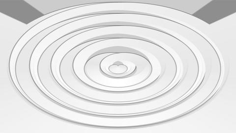 Low contrasting animation, white and gray oval element on light gray background. Animation