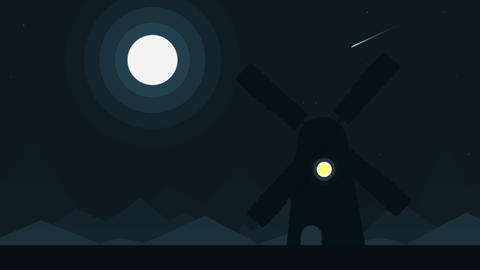 Cartoon silhouette of a windmill at full moon night, loopable cartoon animation Footage