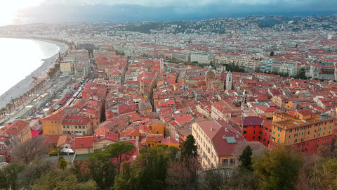 Aerial View of The Nice Old Town French Riviera Footage