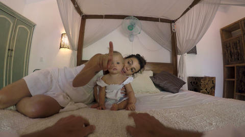 POV of a father spending quality time with his one year old baby girl and Footage