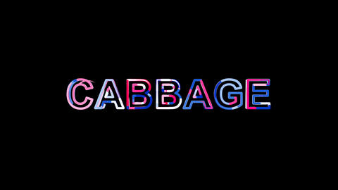 Letters are collected in vegetable CABBAGE, then scattered into strips. Alpha Animation