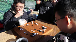 Taiwanese students playing Go Chinese board game Taipei Taiwan Footage