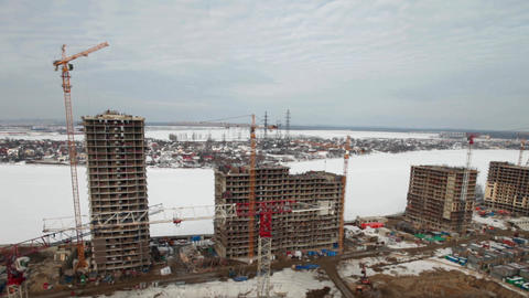 building site, aerial view time lapse Footage
