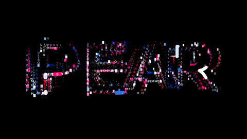 Letters are collected in fruit PEAR, then scattered into strips. Alpha channel Animation