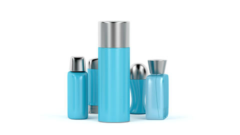 Set of men's cosmetic products CG動画