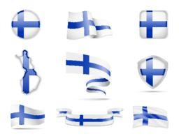 Finland Flags Collection. Flags and contour map Vector