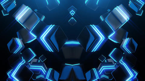 Abstract blue neon squares Animation
