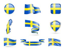 Sweden Flags Collection. Flags and contour map Vector