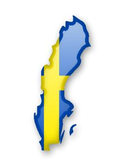 Sweden flag and contour of the country Vector