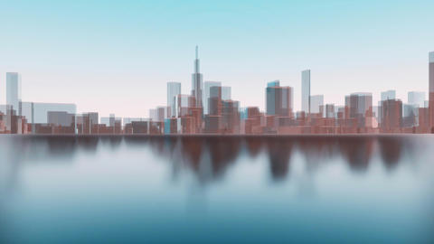 Abstract 3D Chicago city downtown bay view Animation