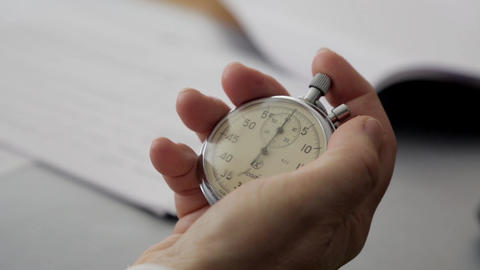 Close-up of a stopwatch in his hand Footage