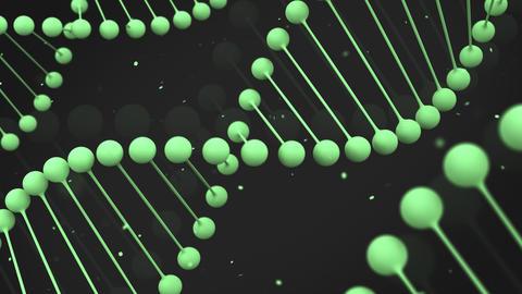Matt green model of DNA strand on black background Animation