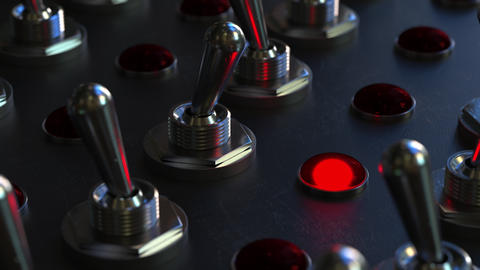 Switching toggle switch on a control panel, red light turns on Live Action