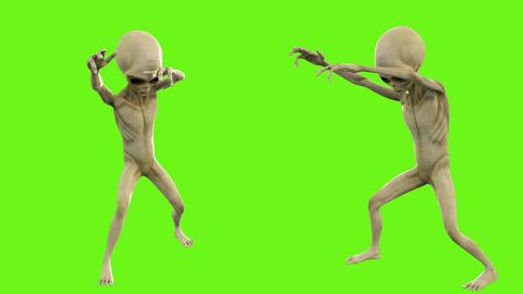 Alien walks like a zombie. Loopable animation on green screen. 4k Animation