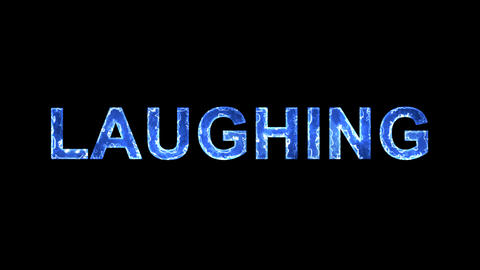 Blue lights form luminous text LAUGHING. Appear, then disappear. Electric style Animation