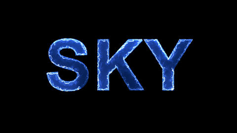Blue lights form luminous text SKY. Appear, then disappear. Electric style Animation