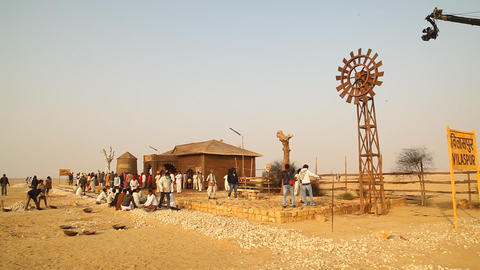 Indian people at Desert Train station Footage