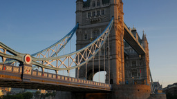 Tilt up Tower Bridge on a stunning clear autumn morning with beautiful sunlight. Footage
