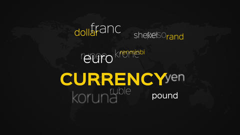 Floating Currency Words Array Black World Animation