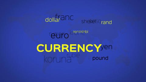 Floating Currency Words Array Blue World Animation