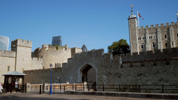 Pan across the river side frontage of the Tower of London. Taken in 4K on a clou Footage