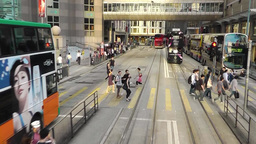 Pedestrians are crossing the street of Hong Kong Footage