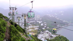 Movement Of The Cable Car Is In Hong Kong Ocean Park stock footage
