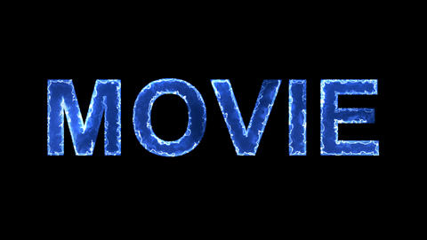 Blue lights form luminous text MOVIE. Appear, then disappear. Electric style Animation
