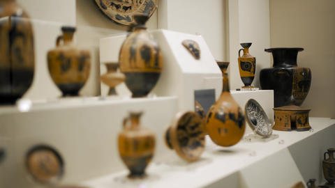 Ancient Greek Pottery on Display Footage