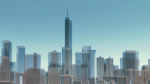 3D Chicago city skyline architectural background Animation