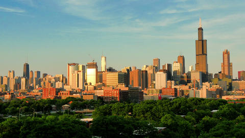 Golden Chicago Skyline Lapse at Sunset Live Action